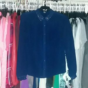 NWOT Navy sheer button up blouse